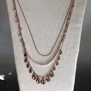 WHBM rose gold and pearl long necklace